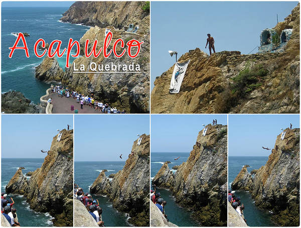La Quebrada Cliff Divers Art Print featuring the photograph La Quebrada Cliff Divers Collage Poster by Tatiana Travelways