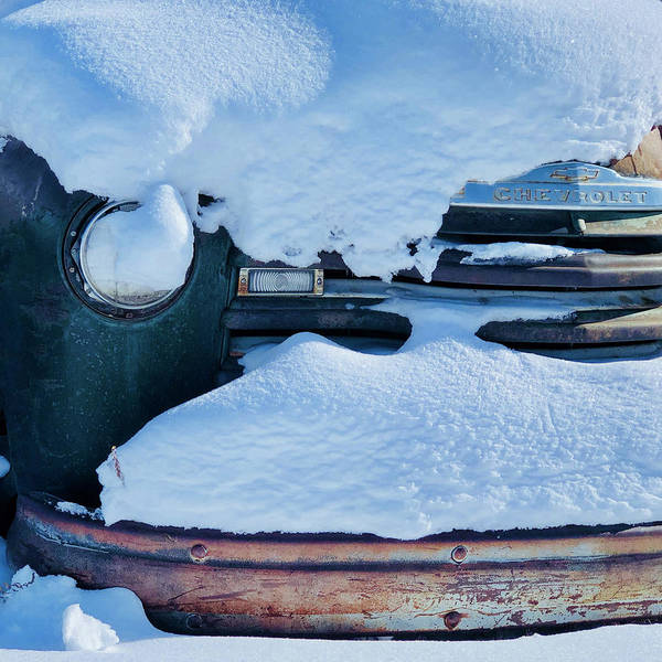 Car Art Print featuring the photograph Old Rusty Chevrolet Covered By Snow In Montana by Tatiana Travelways