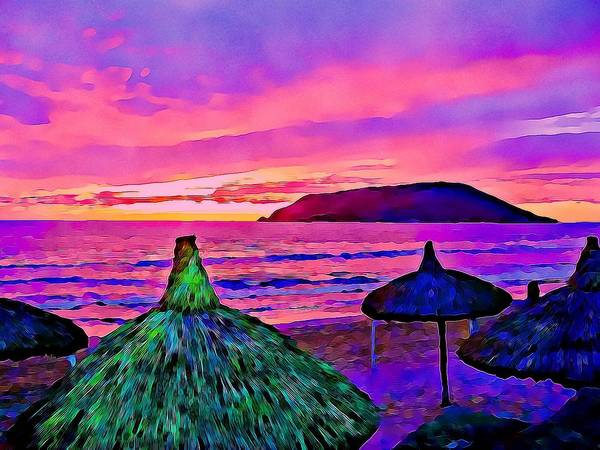 Palapas Art Print featuring the photograph End Of The Beach Day In Mazatlan by Tatiana Travelways