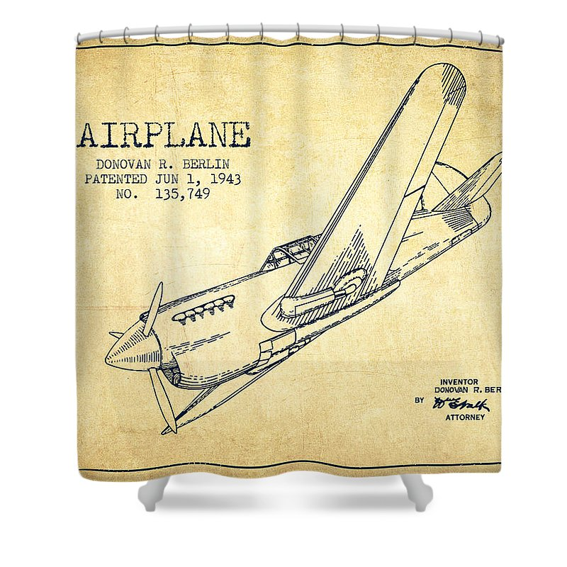 airplane patent drawing from 1943 vintage shower curtain