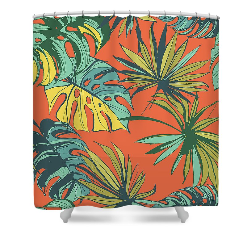 tropical jungle floral seamless pattern shower curtain