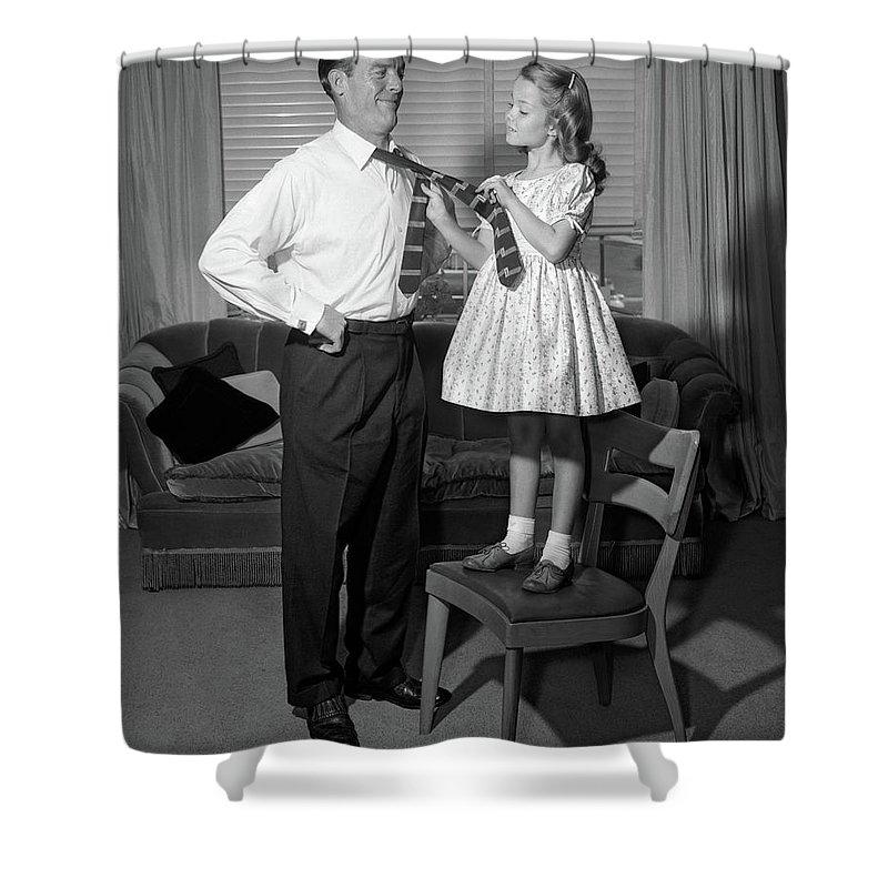 1950s confident little girl standing shower curtain