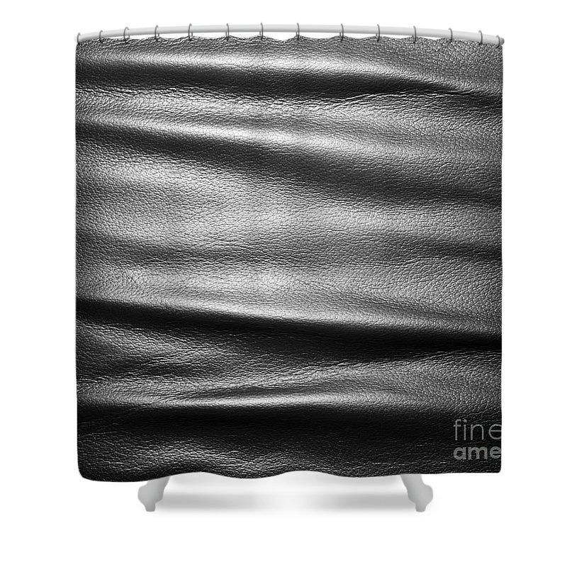 soft wrinkled black leather shower curtain