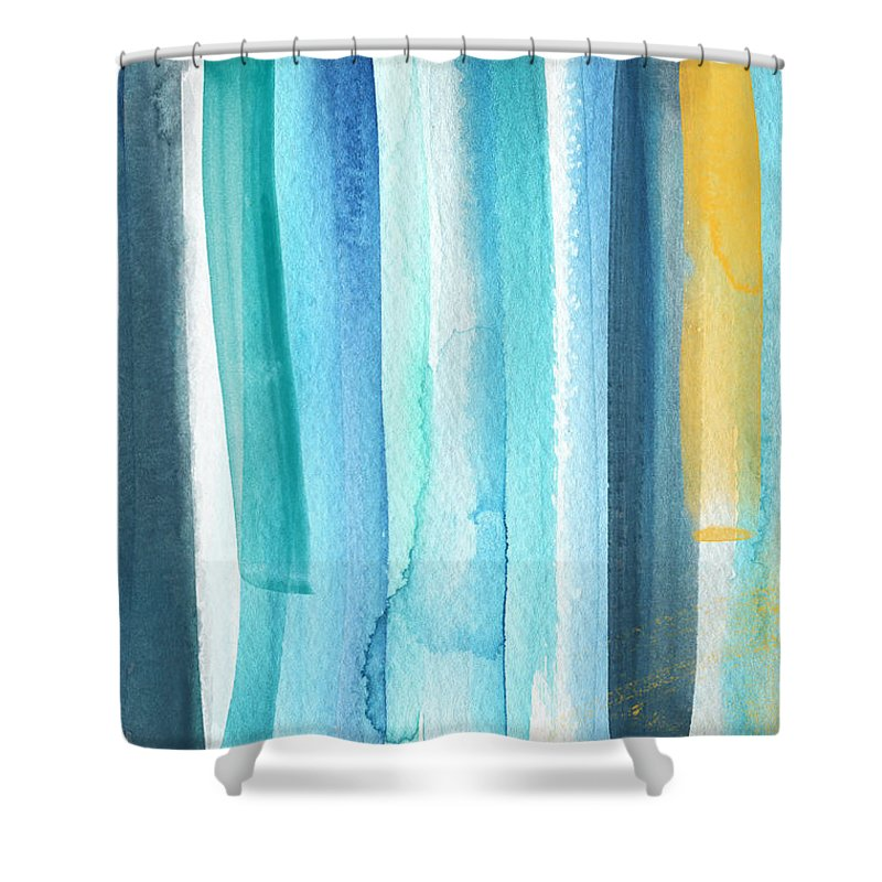 summer surf abstract painting shower curtain