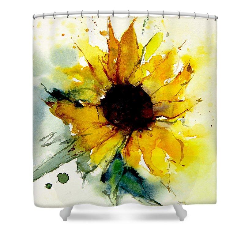 watercolor sunflower shower curtain