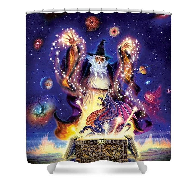 wizard dragon spell shower curtain