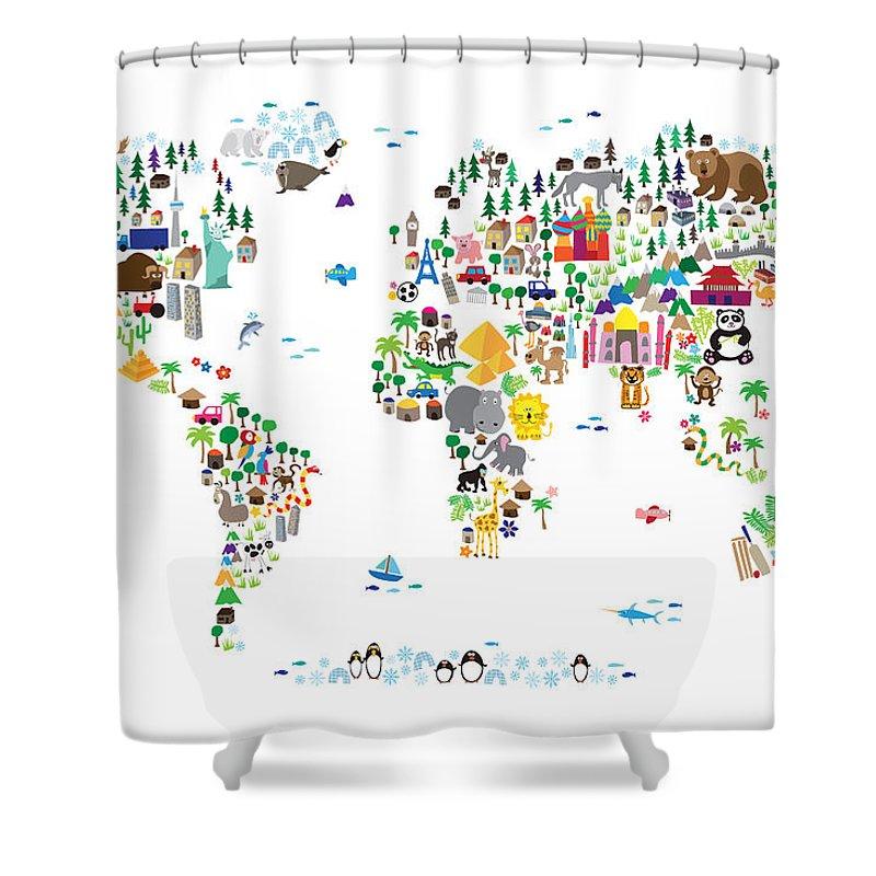 فارغ مارتي فيلدنغ تضحية world map shower curtain