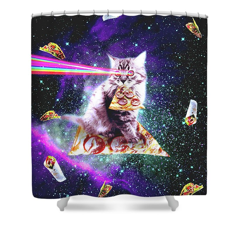 outer space pizza cat rainbow laser taco burrito shower curtain