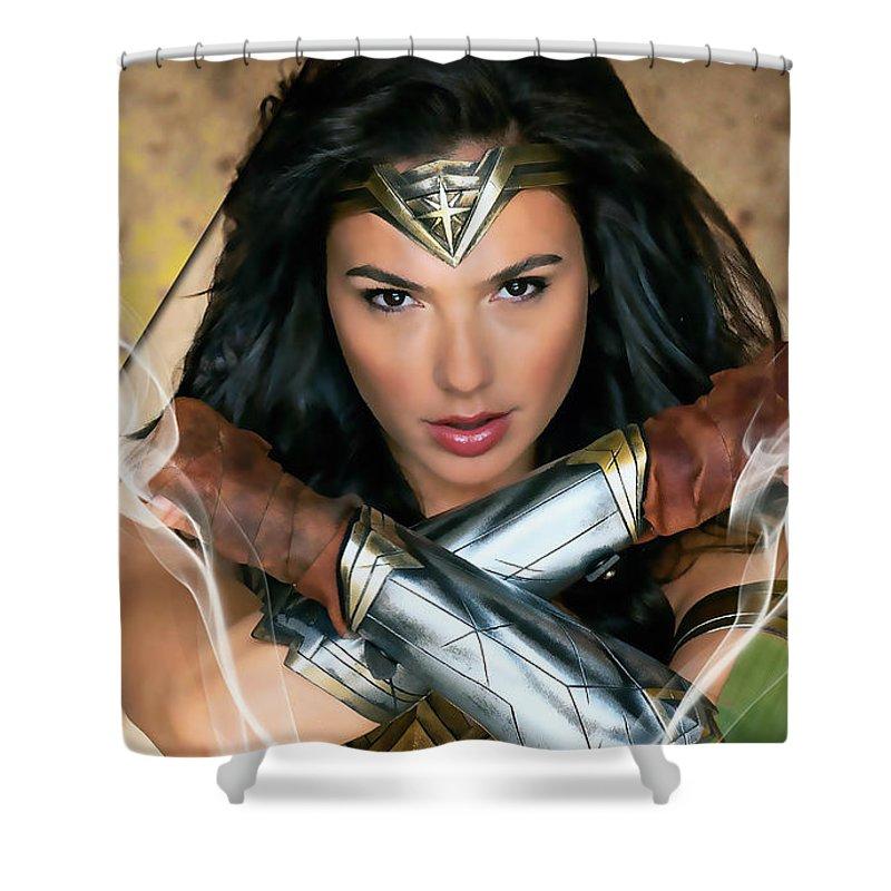 wonder woman art shower curtain