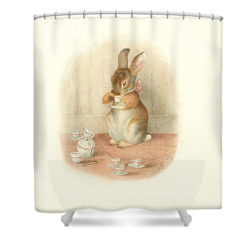 a rabbit s tea party shower curtain
