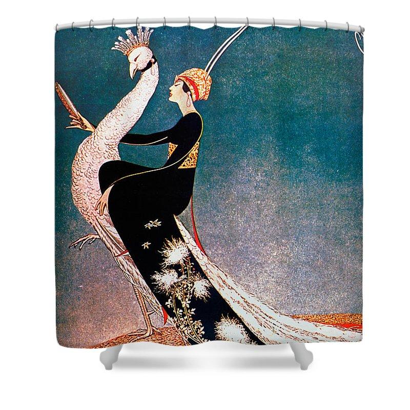 art deco fashion peacock shower curtain