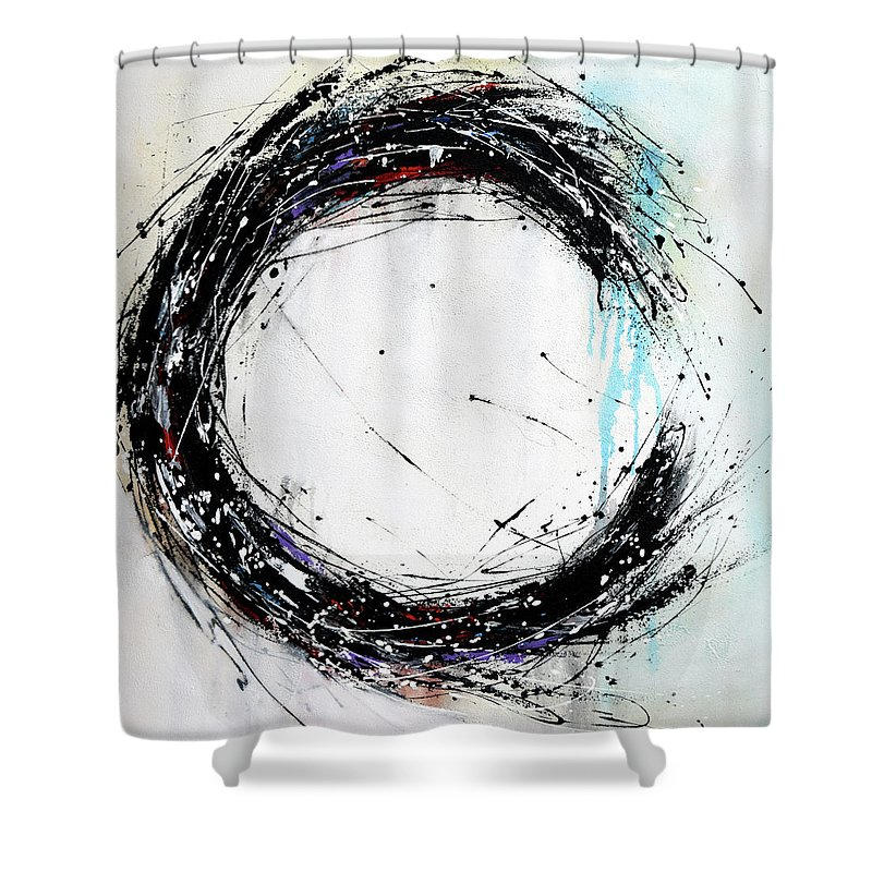 black and white circle painting on canvas hand painted minimalist modern art black blue white shower curtain