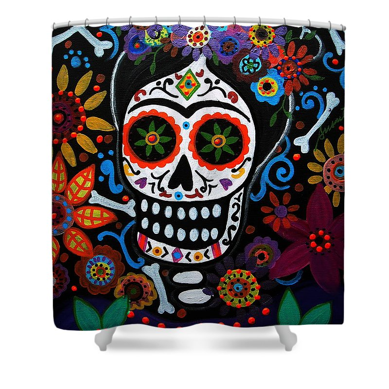 day of the dead frida kahlo painting shower curtain