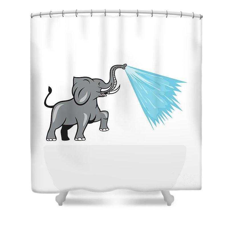 elephant marching spraying water cartoon shower curtain