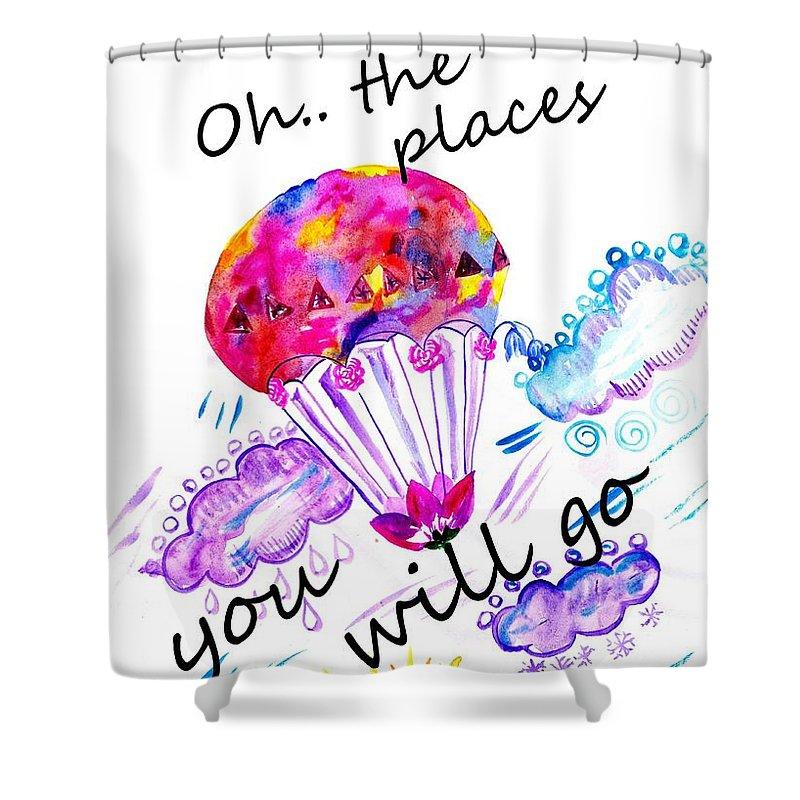 floral hot air balloon hot pink nursery decor children wall art baby boy girl nursery illustrati shower curtain