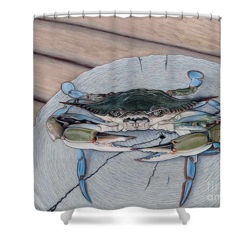 maryland blue crab the escapee shower curtain