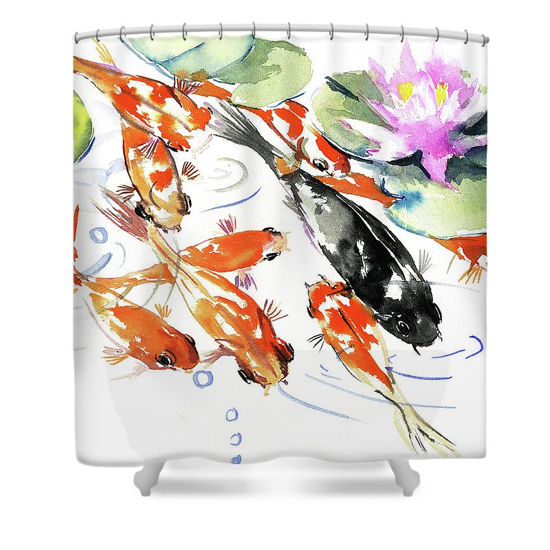 nine koi fish feng shui artwork shower curtain