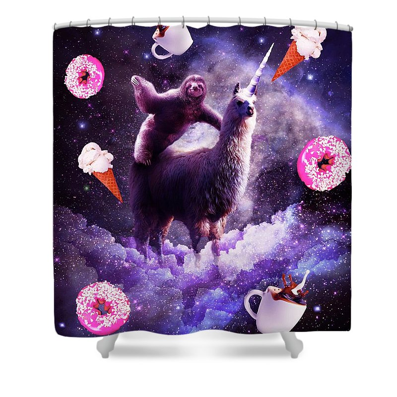 outer space sloth riding llama unicorn donut shower curtain