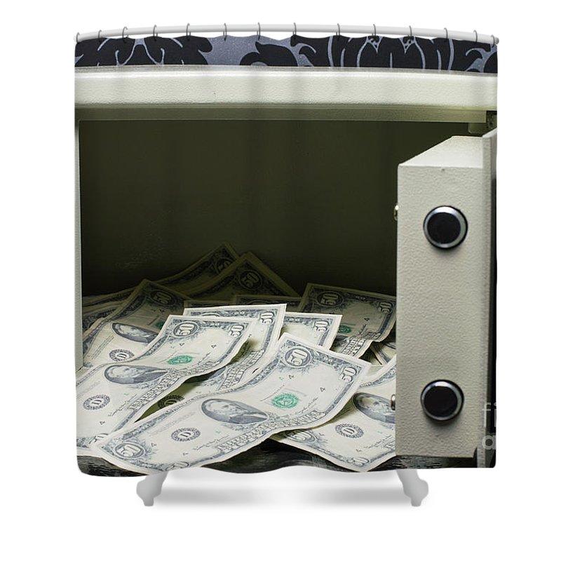 safe full of money shower curtain