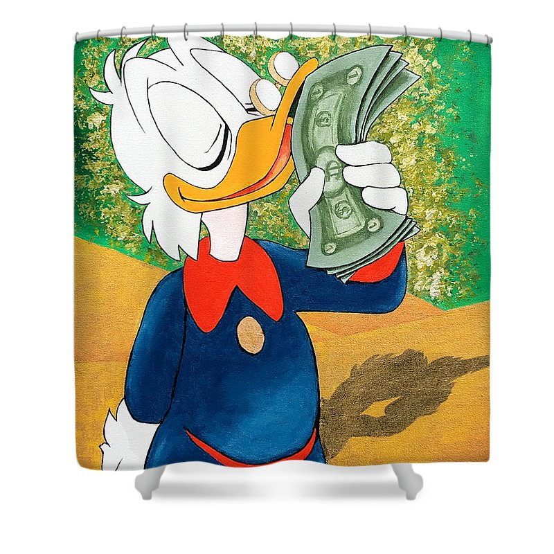 scrooge mcduck kissing money shower curtain