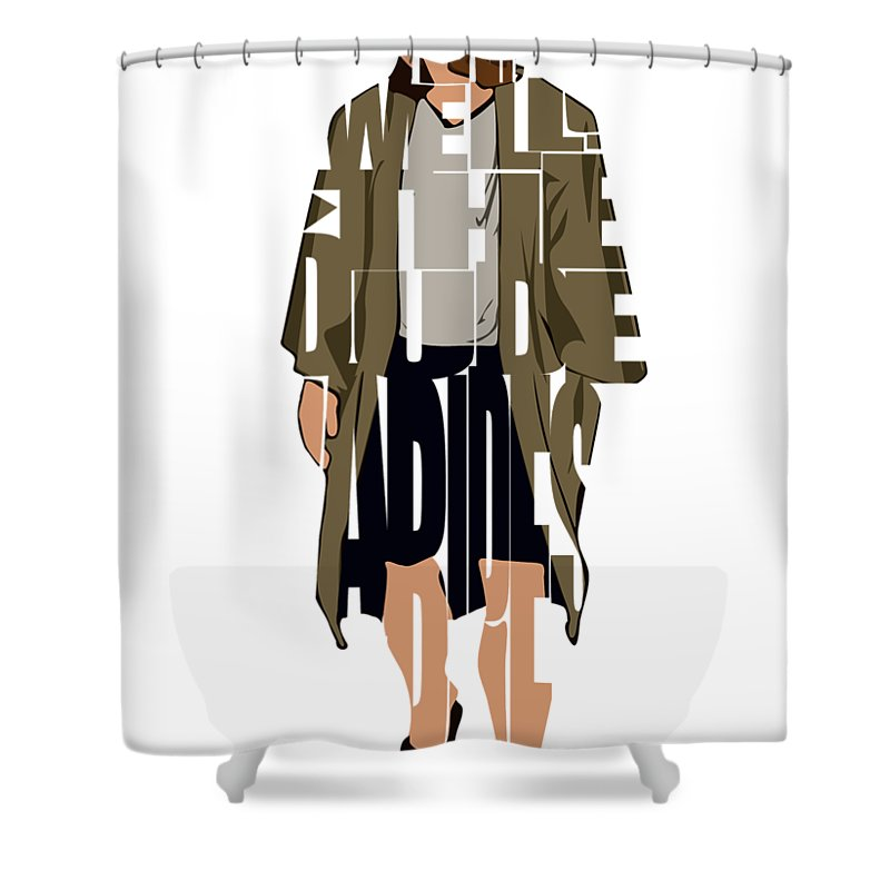 the big lebowski inspired the dude typography artwork shower curtain