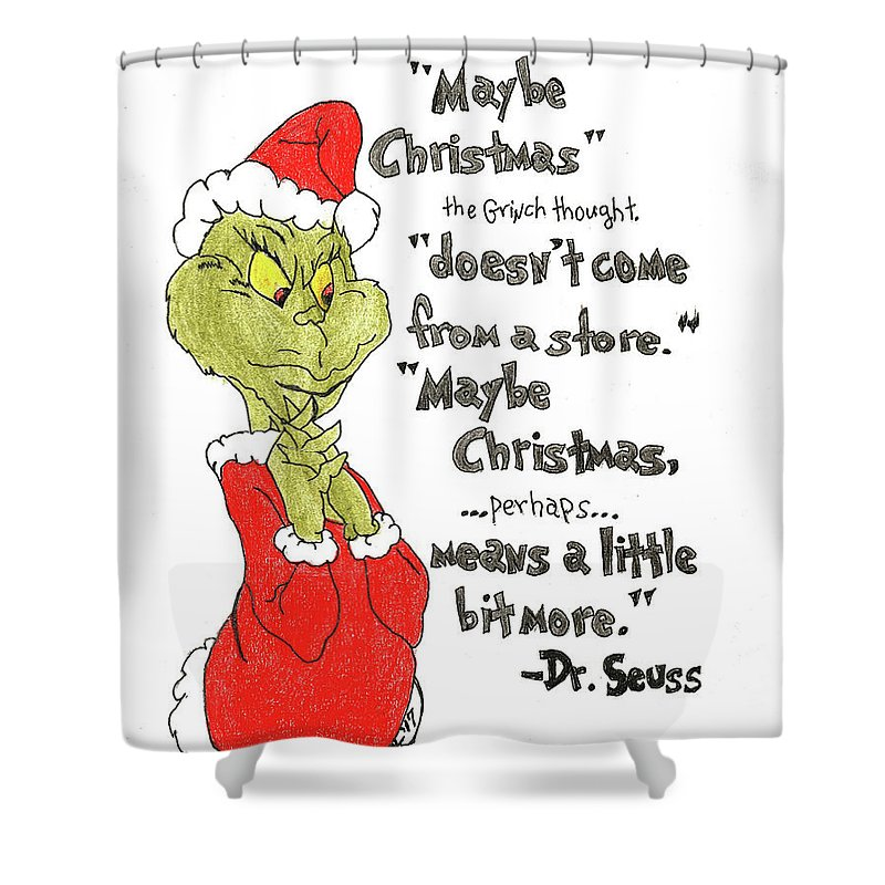 the grinch christmas quote shower curtain