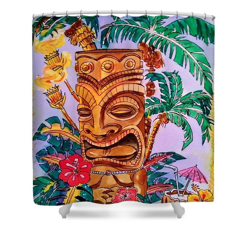 tiki hawaii shower curtain