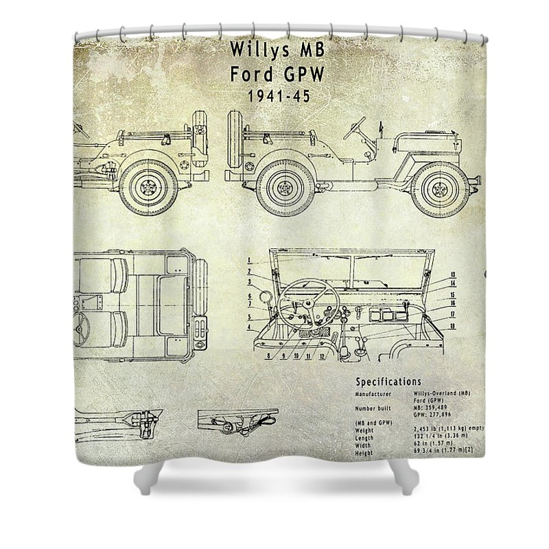 willys jeep blueprint shower curtain
