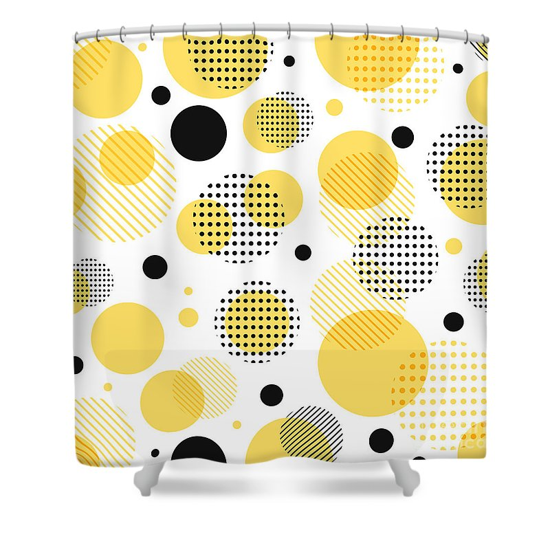 abstract modern yellow black dots shower curtain