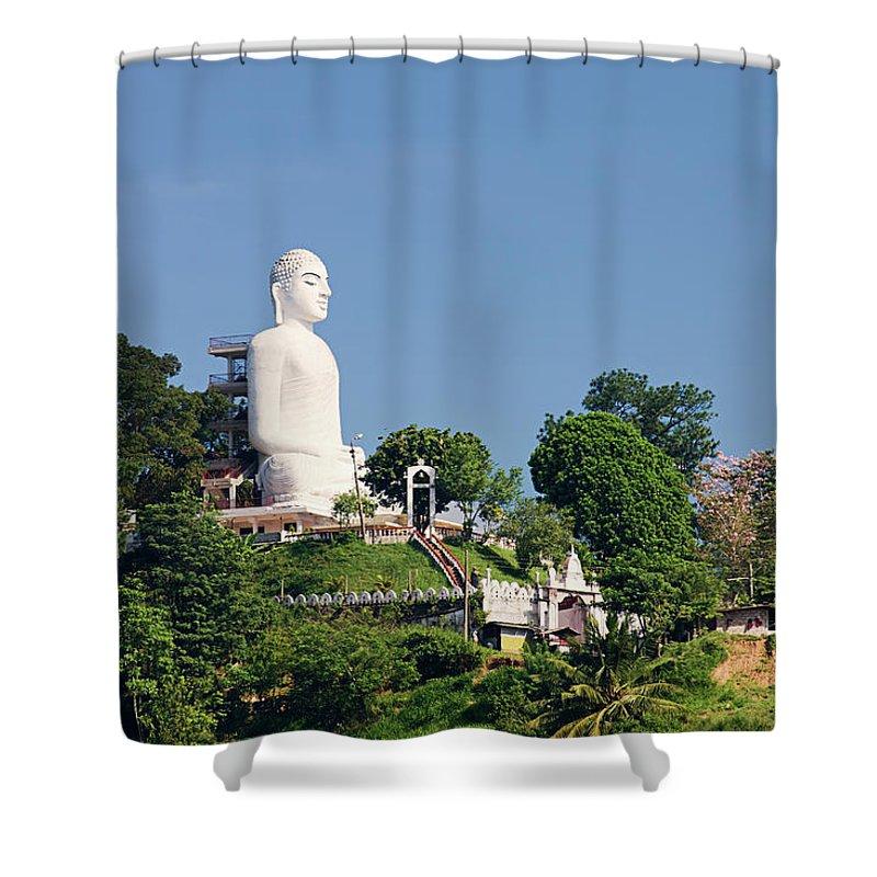 buddha statue sri lanka kandy shower curtain