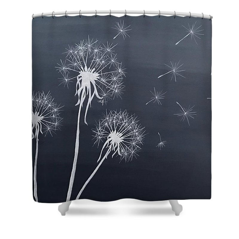 dandelions make a wish black and white shower curtain