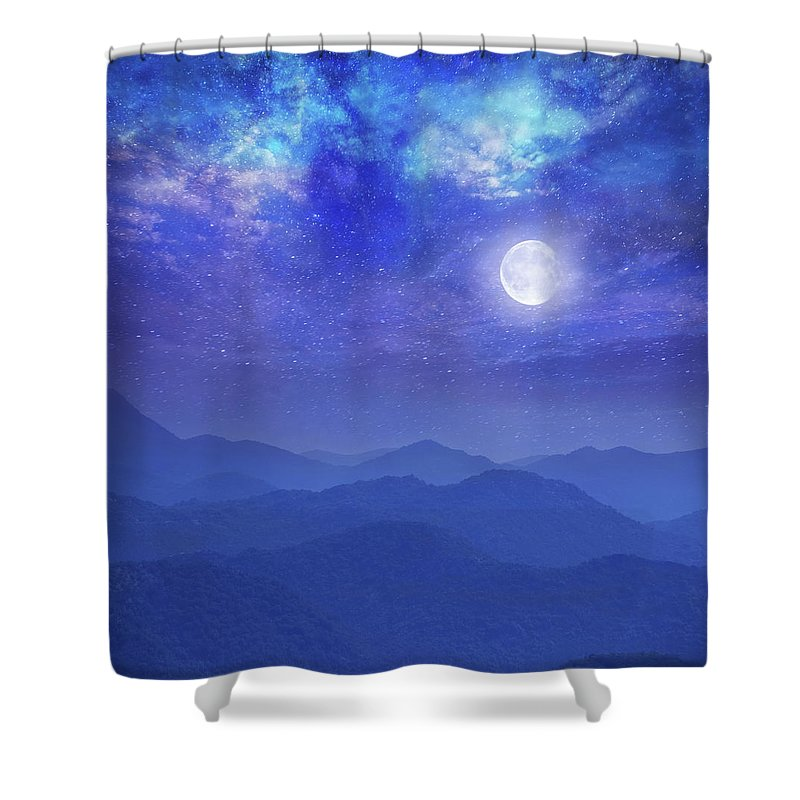 galaxy with moon in mountains shower curtain