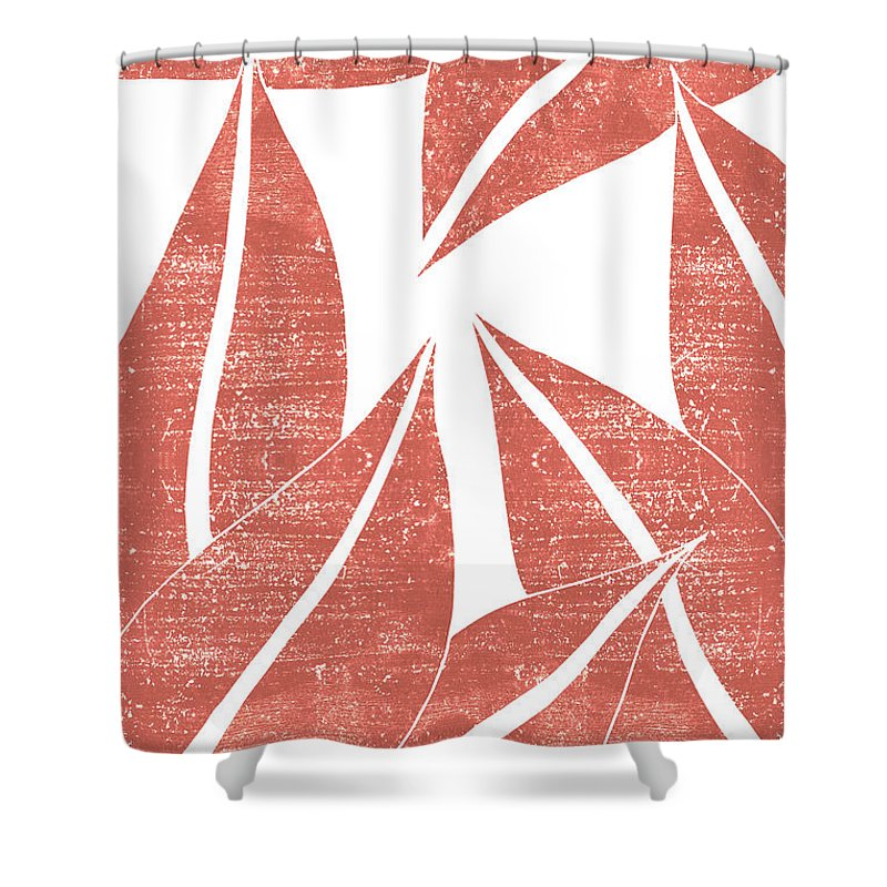 terracotta leaf terracotta abstract print modern minimal contemporary abstract burnt orange shower curtain