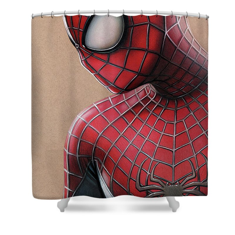 the amazing spider man colored pencil drawing shower curtain