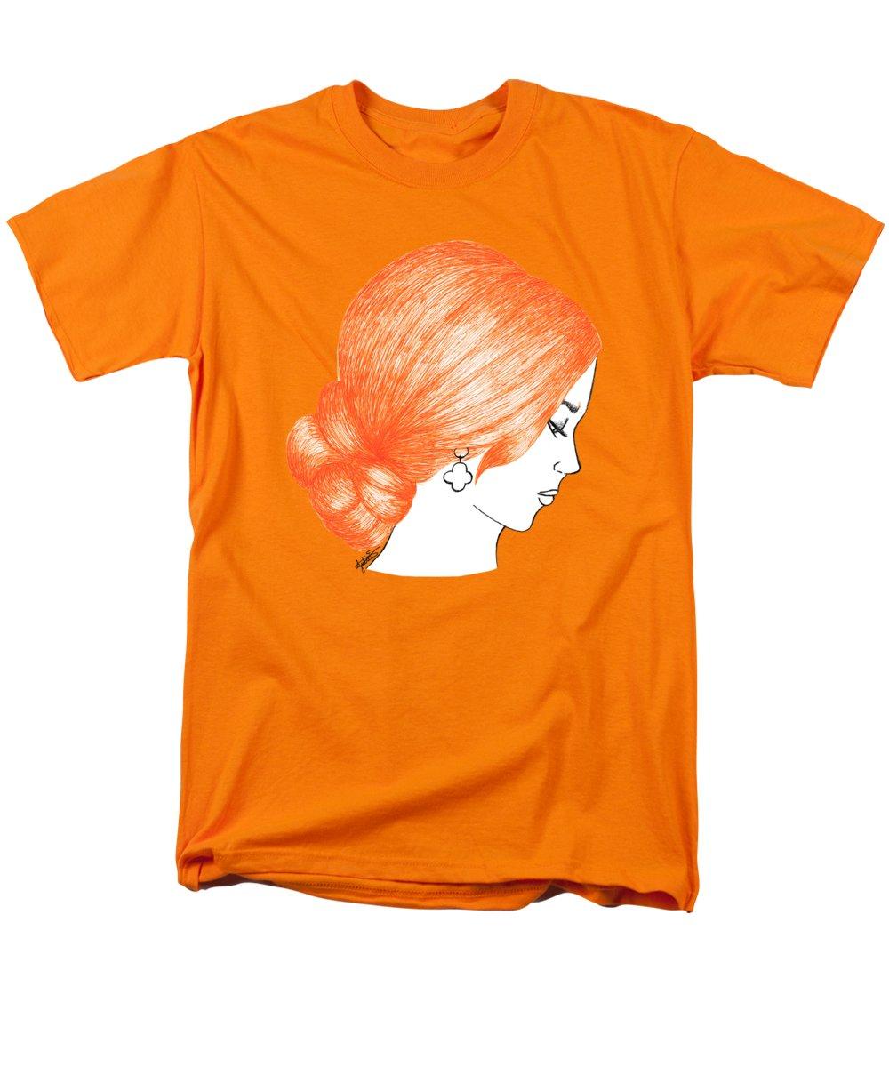 orange hair girl fashion illustration drawing fine art t-shirt
