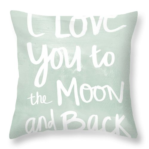 i love you to the moon and back inspirational quote throw pillow