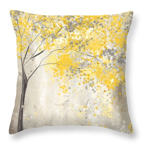 yellow and gray tree throw pillow