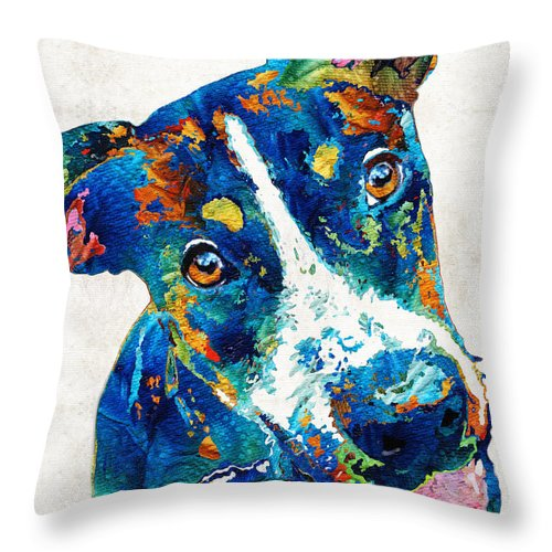 colorful dog art happy go lucky by sharon cummings throw pillow