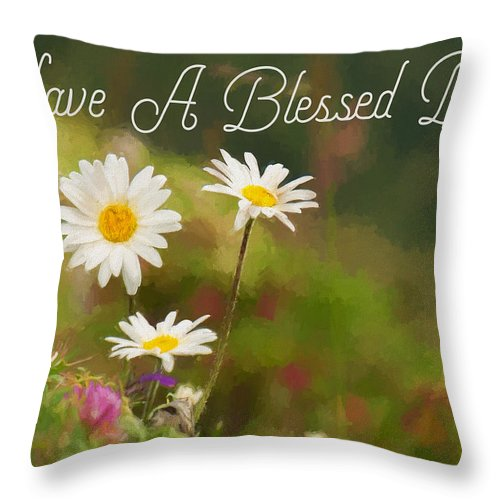 have a blessed day painting throw pillow
