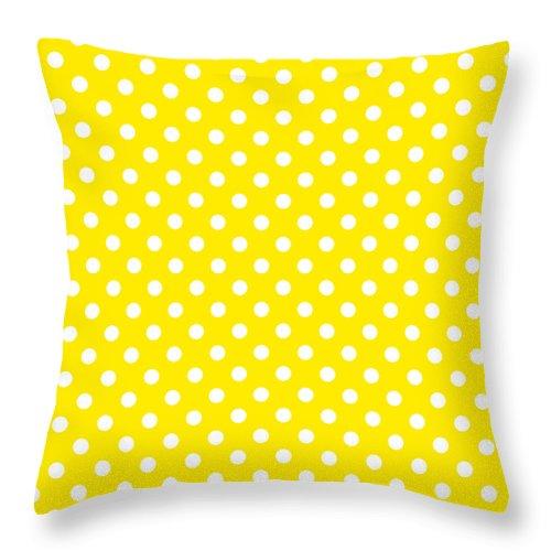 polka dot yellow on white throw pillow