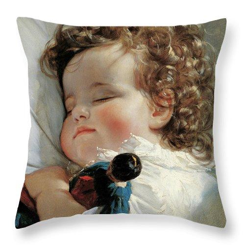portrait of princess marie franziska von liechtenstein throw pillow