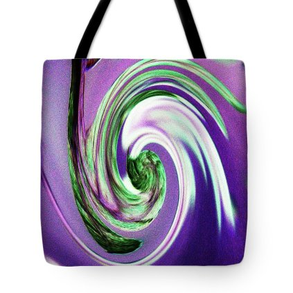 Abstract Tote Bag featuring the photograph Purple And Green Swirls by Holly Morris