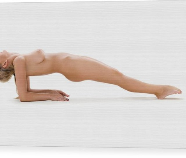 People Wood Print Featuring The Photograph Naked Yoga By Dolgachov