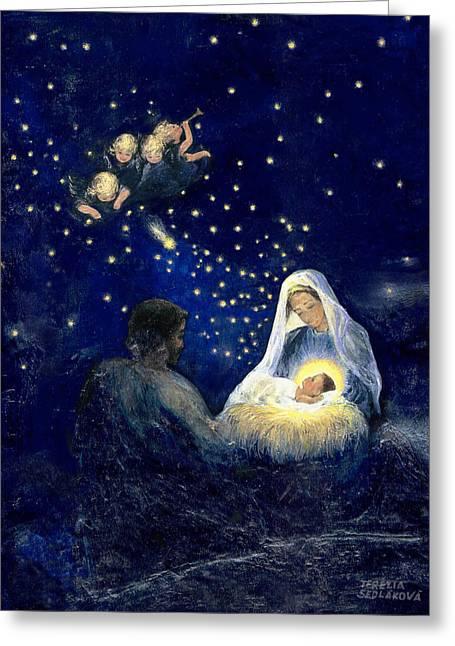 Holy Family Christmas Painting By Terezia Sedlakova