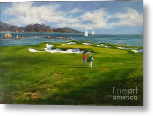 View From The 17th The 17th Hole At Pebble Beach Golf Links Painting     View From The 17th The 17th Hole At Pebble Beach Golf Links Metal Print by  Shelley