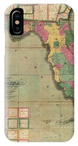 Antique Map Of Florida By I  G  Searcy   1829 Drawing by Blue Monocle Antique Map Of Florida By I  G  Searcy   1829 Phone Case by Blue Monocle