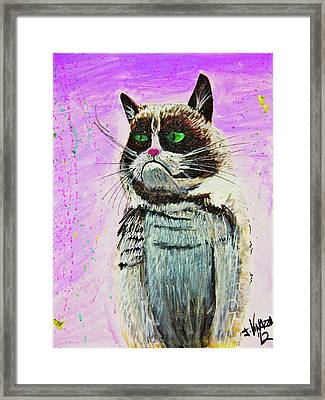 The Grumpy Cat From The Internets Framed Print by eVol i