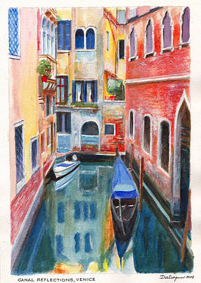 Canal Reflections In Venice Italy Painting By Dai Wynn