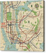 Old New York City Subway Map By Stephen Voorhies   1954 Poster by     Old New York City Subway Map By Stephen Voorhies   1954 Acrylic Print