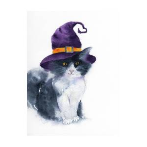 The Cute Cat With Purple Witch Hat Painting By Acharaporn Kamornboonyarush